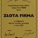 ZŁOTA FIRMA DAKO 2003